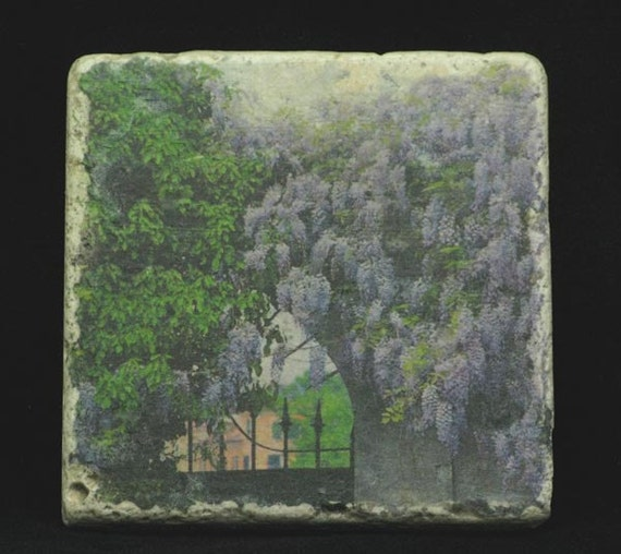 Set of 4 Marble Coasters - Wisteria and Gate in Verona Italy