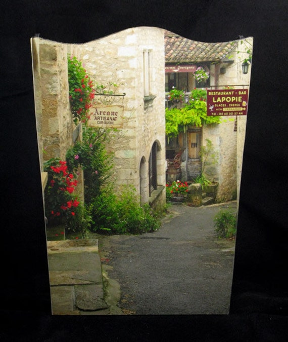 SET Wastebasket and Tissue Box Cover - Quiet Lane in St. Cirq France