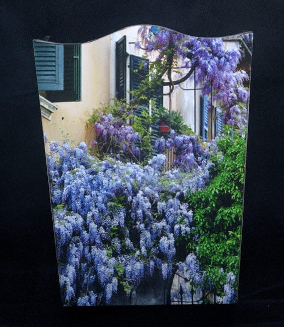 SET Wastebasket and Tissue Box Cover - Wisteria Climbing the Wall