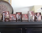 Mother's Day, Unique Photo Letter Blocks: Varied heights, Family, Last Name, Grandparents