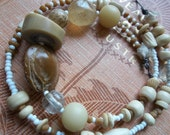 Taupe-creamy white simple necklace