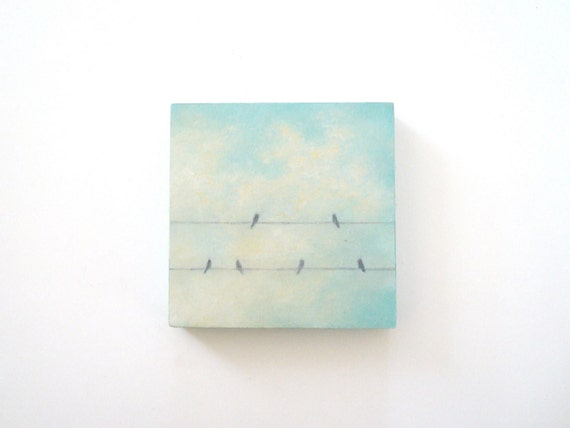 Birds on a Wire Oil Painting