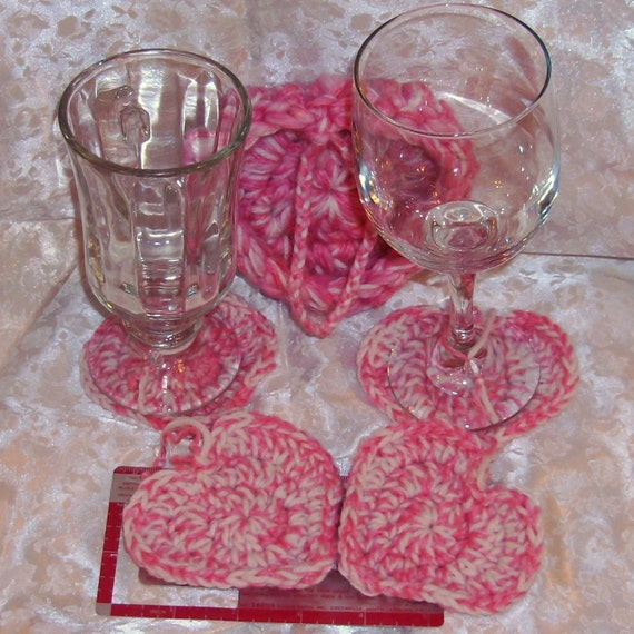Crochet Heart Coaster Ornament Decoration Pink White Shabby Chic Keeper