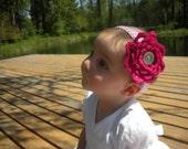 Interchangeable Pretty in Pink Baby Flower Headband