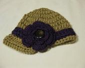 """Sweet as pie """"Newsboy"""" Newborn Girl Crochet Flower Beanie"""