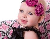 Chiffon Flower Headband - Hot Pink-with Cheetah Print, Photo prop, Infants Toddlers Girls headband
