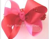 Hair Bow Headband - Bubblegum Pink  & Red, Photo prop, Infant headband Toddler headband Girl headband Teens Adults