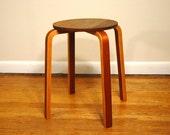 Danish Modern Alvar Aalto Style Stool - Mid Century Bentwood Occasional Table