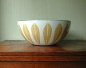 Cathrineholm Lotus Bowl - Huge White and Mustard Enamel Bowl