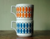 RESERVED FOR SHANMUNKLEY Mid Century Modern Tea Cups - Scandinavian Mugs in style of Stig Lindberg