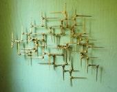 Mid Century Modern Brutalist Wall Hanging - C Jere Era Abstract Metal Wall Sculpture