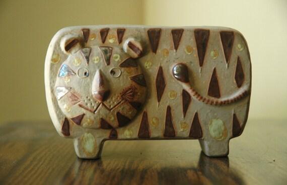 Lisa Larson Era Tiger Planter - Mid Century Scandinavian Stoneware Animal Vase