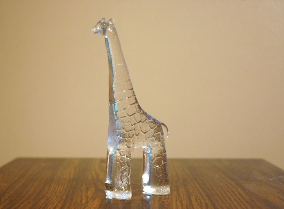Danish Modern Art Glass Animal Figurine - Kosta Boda Zoo Series Giraffe