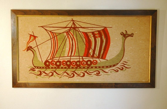 Danish Modern Viking Ship Wall Hanging - Mid Century Modern Viking Boat Painting