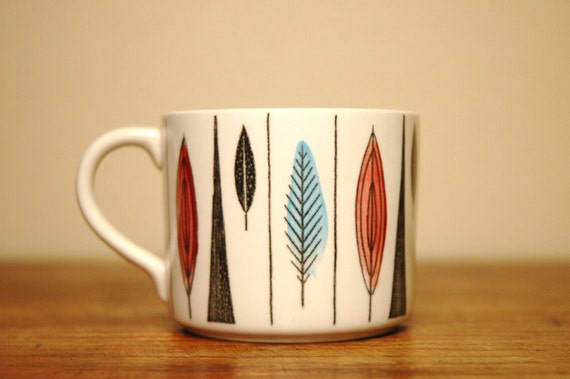 Rörstrand Tango Tea Cup Designed By Marianne Westman - Scandinavian Mid Century Modern Hand Painted Cup