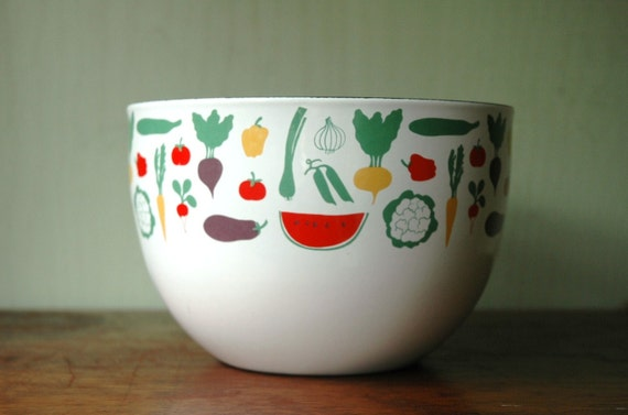 Finel Kaj Franck Enamel Bowl - Danish Modern Large Vegetable Pattern Enamelware By Arabia of Finland