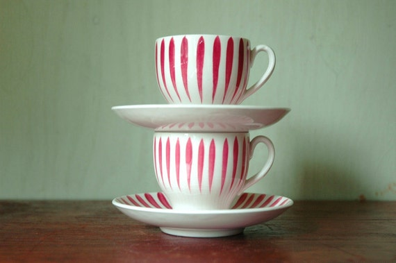 """Swedish Ceramic Striped Cups and Saucers - Hand Painted Upsala Ekeby """"Rod Aster"""" Cups"""