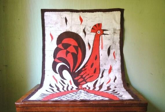 Danish Modern Bird Wall Hanging - Mid Century Modern Animal Print Textile Tea Towel