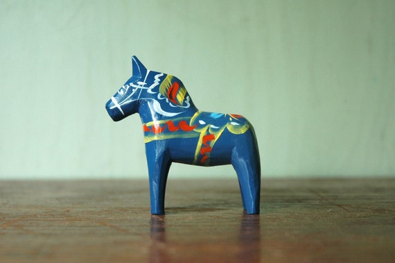Swedish Dala Horse - Blue Nils Olsson Era Scandinavian Modern Hand Painted Wooden Dala Horse Figurine