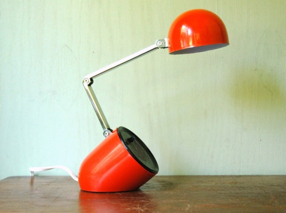 Mid Century Modern Space Age Desk Lamp - Tensor Era Red Adjustable Folding  Lamp