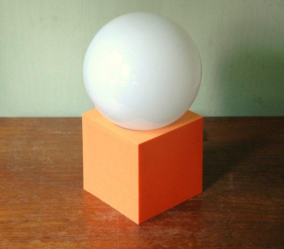 Mid Century Modern Orange Plastic Desk Lamp - Kartell Era Mod Plastic Lamp
