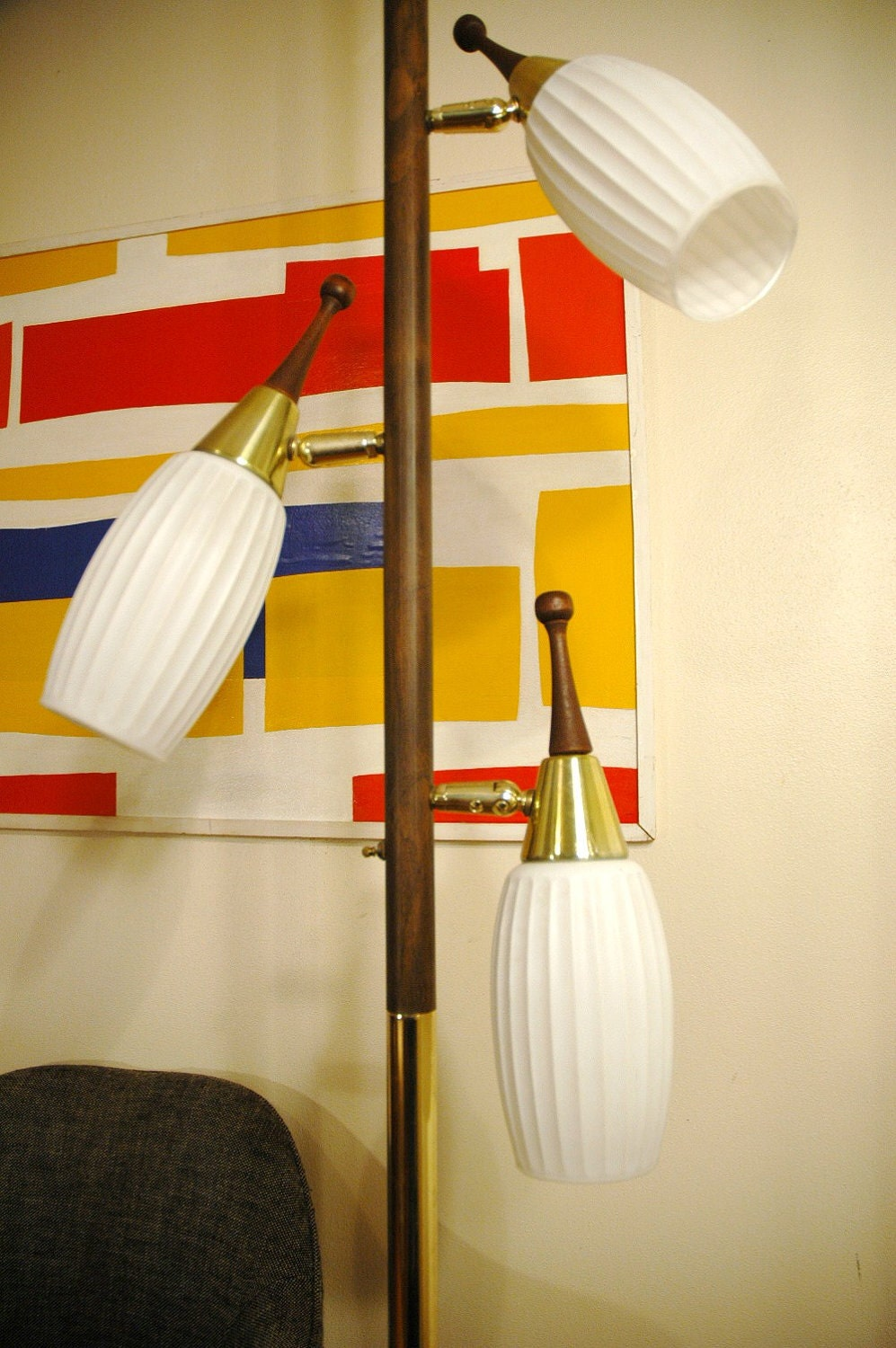 ^ Danish Modern eak ension Pole Lamp Mid entury by JunkHouse