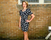 Marvellous Floral 90s Minidress Black and Blue Funky Daisy Print