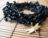 Black Leather & Black Bead Wrap Bracelet with Dragonfly charm