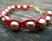 Red Leather Macrame Bracelet with 8mm Gold Colored Pearls
