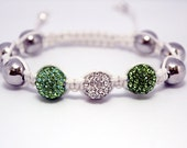 Mothers Day Sale -20 % off -  Beautiful White Macrame Bracelet with Light Green & Silver Pave Crystal Beads