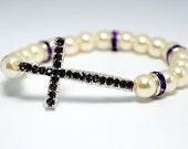 Ivory and Rhinestone Sideways Cross Bracelet