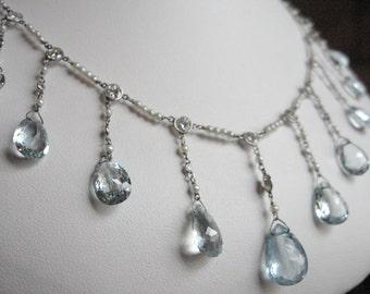 Platinum, Aquamarine, Diamond, and Seed Pearl Necklace Edwardian Fringe Style, 16.70 CTW Aquamarine, 2.30 CTW Diamond, 9.33 Grams, 16 Inches