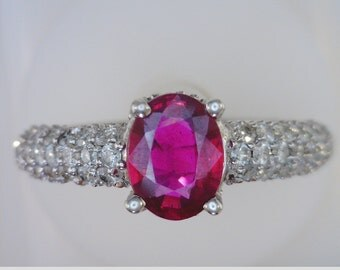 14k White Gold Ruby and Diamond Ring, Prong-Set Oval Ruby 0.70 Carat & Pave-Set 80 Round Diamonds 1.50mm Total Weight of 1.04 Carats Size 6