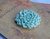Handmade Ceramic button Turquoise blossom