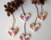 Ceramic heart Christmas ornament red and white, set of five , home decor, gift tags