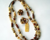 Vintage Glass Bead and Stone Necklace and Earrings Earth Tones