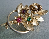 3-D Floral Brooch Rose and Daisies Gold Plated Vintage 50's