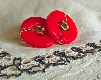 Vintage Red Geometric Earrings
