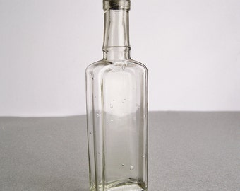 Early1900s Glass Medicine Bottle with Rubber Stopper