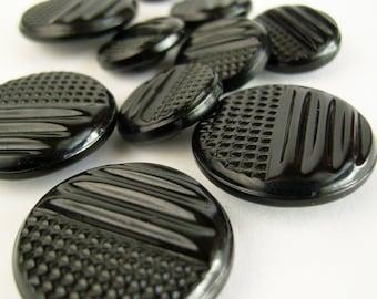 Vintage Black Tight Top Buttons 1930s Deco Set of Ten