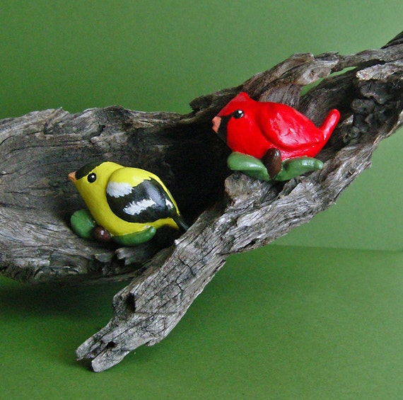 Cardinal and Goldfinch Handmade Magnets Set of Two
