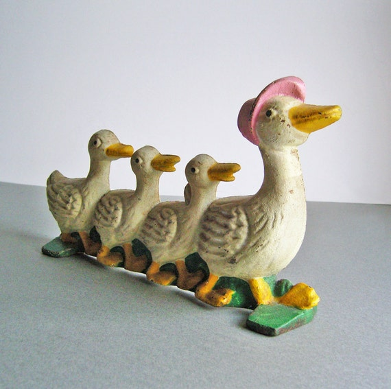 Vintage Cast Iron Doorstop Ducks in a Row
