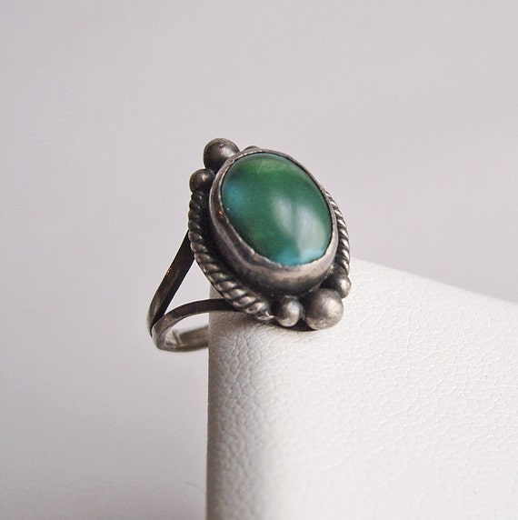 Vintage Silver and Turquoise Ring Pinky Ring Signed