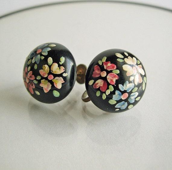 Vintage Hand Painted Flowers on Black Earrings