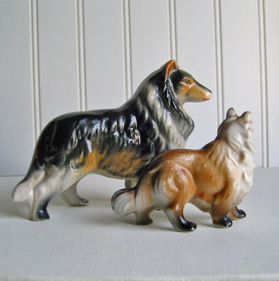 Vintage  Collie Figurines Two Dogs Japan Ceramic