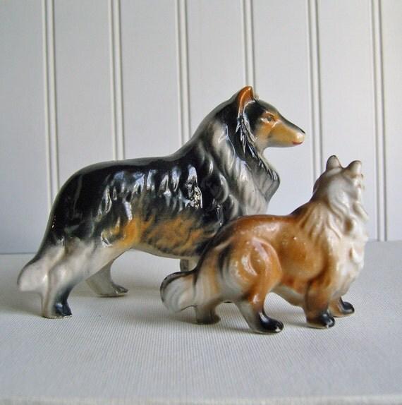 vintage ceramic collie dogs