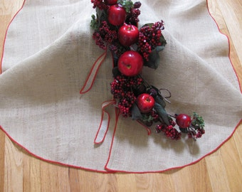 Burlap Christmas Tree Skirt 47 Red Edge More Skirts In