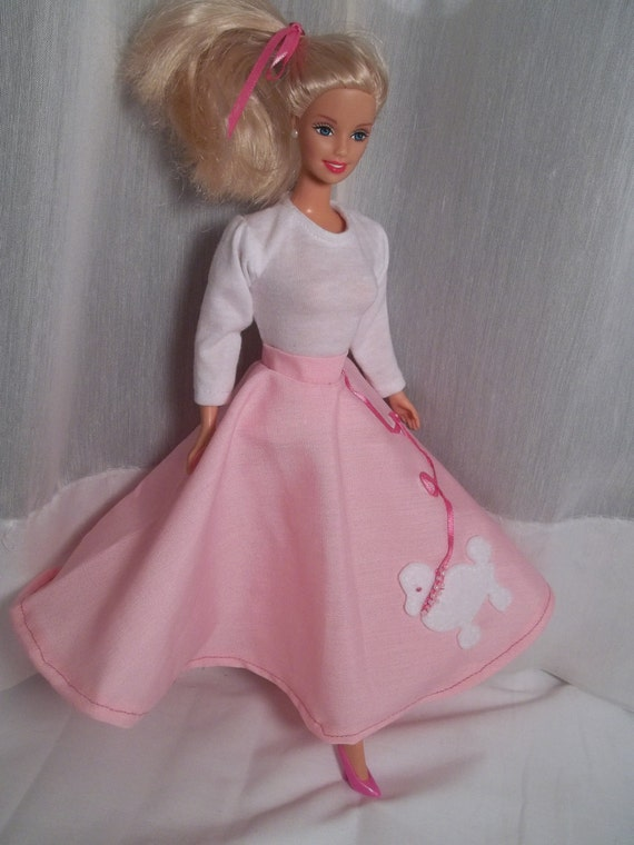 Barbie Clothes Halloween Costume 50s Sock Hop Poodle Skirt & White Tee
