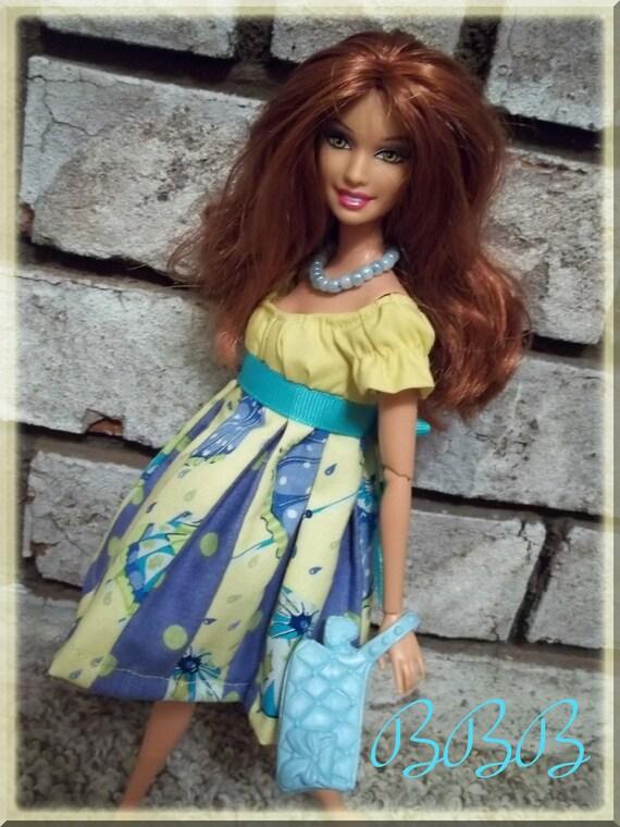 Barbie Dress - Rainy Day Peasant Style Strip Dress - OOAK