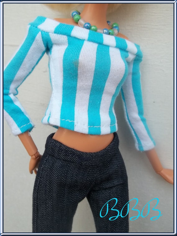 Barbie Clothes - Barbie Outfit - Boat Neck Tee and Capris